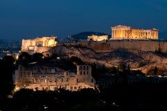 Akropolis an der Dämmerung Lizenzfreie Stockfotos