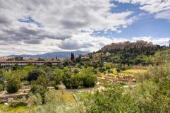 Akropolis en oud Agora van Athene, Griekenland Royalty-vrije Stock Afbeeldingen