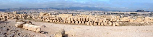Akropolis, Griechenland, Panorama der Stadt von oben Lizenzfreie Stockbilder