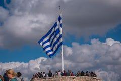Akropolis Griekse vlag stock foto