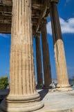 Akropolis Parthenon van Athene in van de de Kolompijler van Griekenland Dichte Omhooggaand Royalty-vrije Stock Afbeeldingen