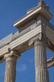 Akropolis Parthenon van Athene in van de de Kolompijler van Griekenland Dichte Omhooggaand Stock Foto