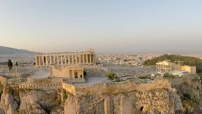 Akropolis-Parthenonluftgesamtlänge Panoramablick stock video