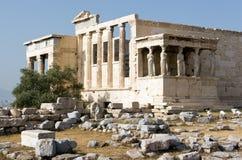 Akropolis, Portiek van Meisjes Stock Fotografie