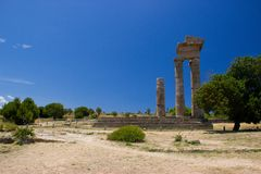 Akropolis of Rhodos historic buildings architecture. Blue sky ruins ancient stock photos