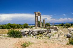 Akropolis of Rhodos historic buildings architecture ruins ancient. Travel Akropolis of Rhodos historic buildings architecture blue sky ruins anciant royalty free stock images