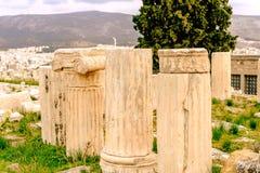 Akropolis van Athene, architecturaal monument, toeristische attractie stock foto's