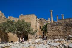 Akropolis van de archeologische plaats van Lindos in Rhodes Island Greece Stock Afbeeldingen