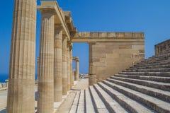Akropolis van de archeologische plaats van Lindos in Rhodes Island Greece Royalty-vrije Stock Fotografie