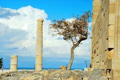 Akropolis van Lindos in het eiland van Rhodos stock afbeelding