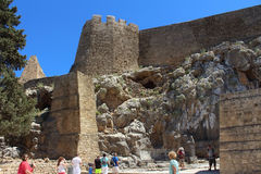 Akropolis van Lindos, Rhodos Stock Afbeeldingen