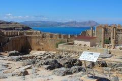 Akropolis van Lindos, Rhodos royalty-vrije stock foto