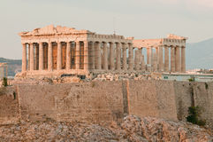 Akropolis vor Sonnenuntergang Stockfotos