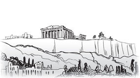 Akropolisheuvel in Athene. Europese reisbestemming. royalty-vrije illustratie