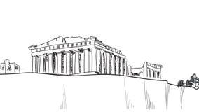 Akropolisheuvel in Athene. Europese reisbestemming. vector illustratie