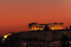 Akropoliszonsondergang royalty-vrije stock afbeeldingen
