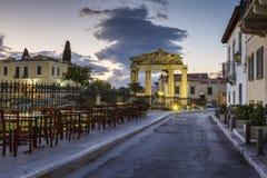akropolu agory Athens zamknięta hadrian biblioteczna rzymska s strona widok Zdjęcia Royalty Free