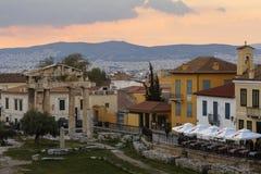 akropolu agory Athens zamknięta hadrian biblioteczna rzymska s strona widok Zdjęcia Stock