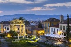 akropolu agory Athens zamknięta hadrian biblioteczna rzymska s strona widok Obrazy Royalty Free