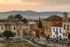 akropolu agory Athens zamknięta hadrian biblioteczna rzymska s strona widok Zdjęcie Royalty Free