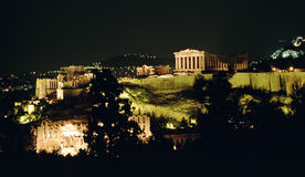 akropolu noc Athens Fotografia Stock