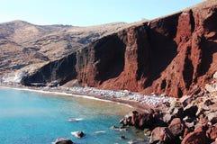 akrotiri海滩红色 免版税库存照片