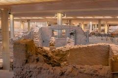 AKROTIRI, ΕΛΛΑΔΑ - 4 ΦΕΒΡΟΥΑΡΊΟΥ: Περιοχή ανασκαφής Akrotiri σε Februar Στοκ εικόνα με δικαίωμα ελεύθερης χρήσης