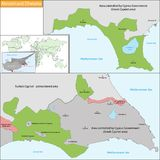Akrotiri και χάρτης Dhekelia Στοκ Εικόνα