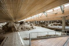 Akrotiri археологическое место от бронзового века Minoan на греческом острове Santorini Thera Стоковые Фото
