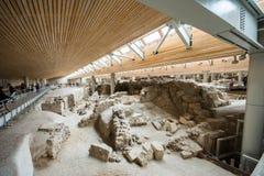 Akrotiri археологическое место от бронзового века Minoan на греческом острове Santorini Thera Стоковая Фотография RF