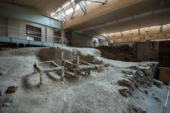 Akrotiri археологическое место от бронзового века Minoan на греческом острове Santorini Thera Стоковое Изображение