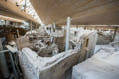 Akrotiri археологическое место от бронзового века Minoan на греческом острове Santorini Thera Стоковое фото RF
