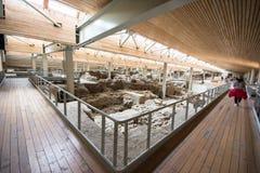 Akrotiri археологическое место от бронзового века Minoan на греческом острове Santorini Thera Стоковые Фотографии RF