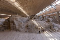 Akrotiri Archaeological Site Museum excavation near Fira Santorini island. In Greece stock photos