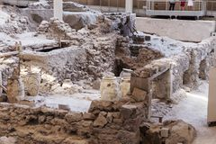 Akrotiri Archaeological Site Museum excavation near Fira Santorini island. In Greece Royalty Free Stock Photo