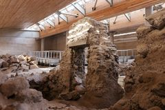 Akrotiri Archaeological Site Museum excavation near Fira Santorini island. In Greece Stock Image