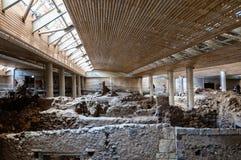Akrotiri Archeologiczny miejsce na Greckiej wyspie Santorini T fotografia royalty free