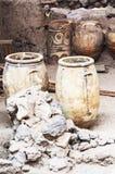 Akrotiri Archeologiczny miejsce na Greckiej wyspie Santorini T zdjęcia royalty free