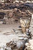 Akrotiri Archeologiczny miejsce na Greckiej wyspie Santorini T obrazy royalty free
