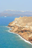 Akrotiri Egeïsche overzeese kust op Santorini Stock Foto's