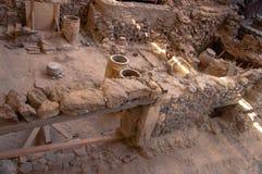 AKROTIRI, GRECIA - 4 FEBBRAIO: Sito dello scavo di Akrotiri su Februar Fotografia Stock Libera da Diritti