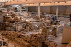 AKROTIRI, GRECIA - 4 FEBBRAIO: Sito dello scavo di Akrotiri su Februar Fotografie Stock Libere da Diritti