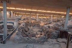 AKROTIRI, GREECE - FEB 4: Excavation site of Akrotiri on Februar Royalty Free Stock Images