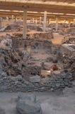 AKROTIRI, GREECE - FEB 4: Excavation site of Akrotiri on Februar Stock Photo