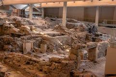AKROTIRI, GREECE - FEB 4: Excavation site of Akrotiri on Februar Stock Image