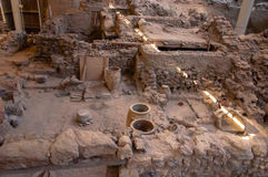 AKROTIRI, GREECE - FEB 4: Excavation site of Akrotiri on Februar. Akrotiri,excavation site of a Minoan Bronze Age settlement on the Greek island of Santorini Stock Photography
