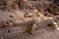 AKROTIRI, GREECE - FEB 4: Excavation site of Akrotiri on Februar Royalty Free Stock Photography