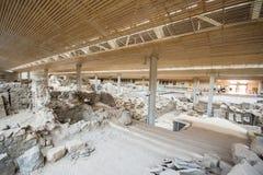 Akrotiri ist eine archäologische Fundstätte vom Bronzezeitalter Minoan auf der griechischen Insel von Santorini Thera stockfotografie