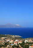 Akrotiri from Kokkino Horio. A view across the north Crete tourist holiday homes at Kokkino Horio in Apokoronos over Souda Bay to the Akrotiri peninsula. The Stock Photography