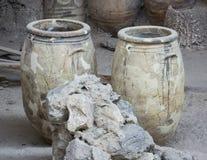 Akrotiri miejsca składowego pokoju podkopowe wazy Obrazy Royalty Free